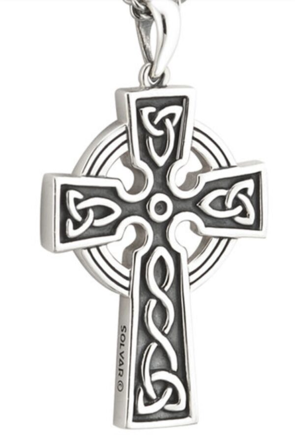 Double Sided Oxidized Silver Celtic Cross Pendant Large S44865