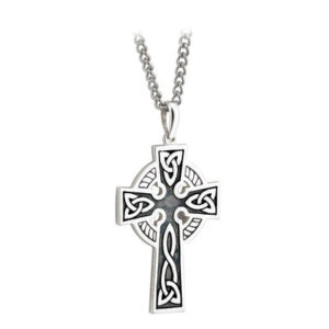 Double Sided Oxidized Sterling Silver Celtic Cross Pendant Large s44864