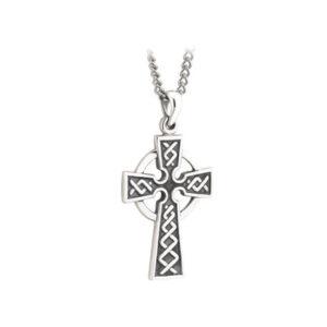Silver Oxidized Celtic Cross Large S44861