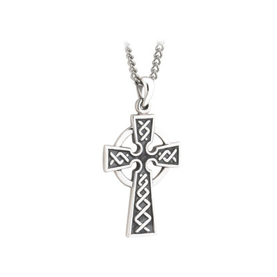 Silver Oxidized Celtic Cross Large S44861