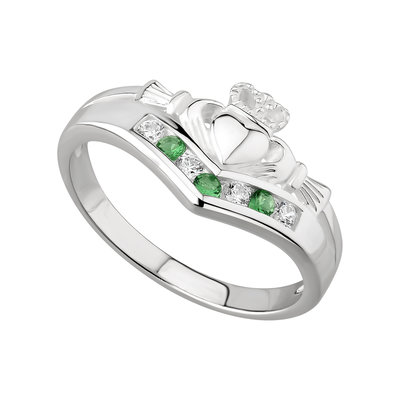 Silver Claddagh Wishbone Ring