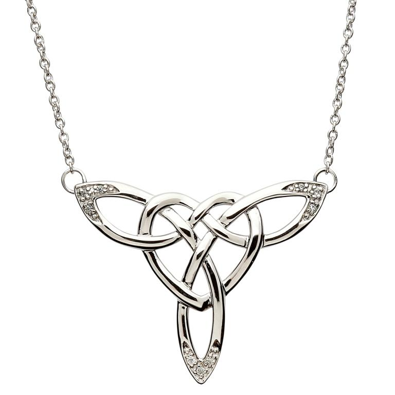 SP2110CZ - Intricate Celtic Knot Silver Design Necklace