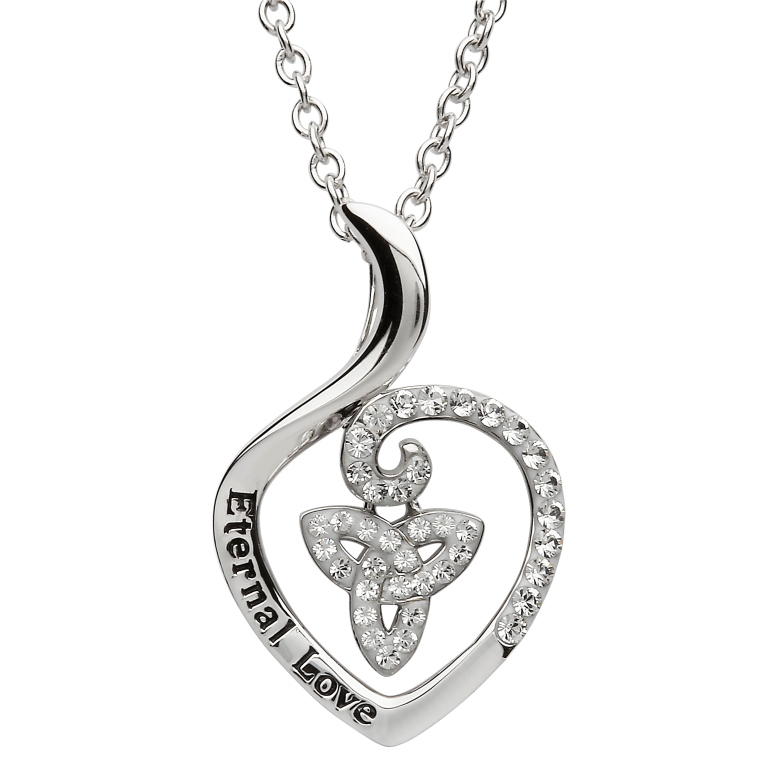 SW87 -Silver Celtic Trinity Encrusted With White Swarovski Crystal