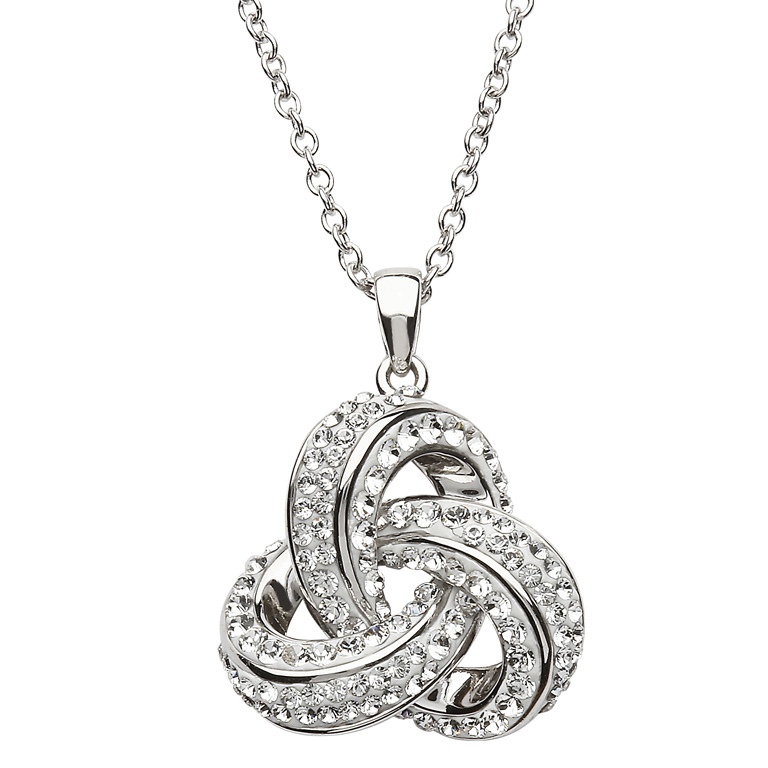 SW97 - Stone Set Trinity Pendant Encrusted With Swarovski Crystals