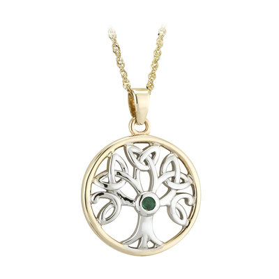 S46078 Tree of Life Pendant - 14K Gold with Emerald