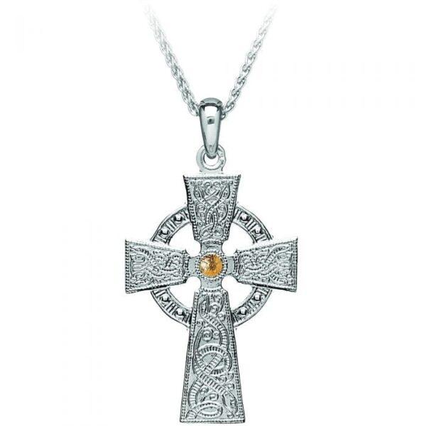 Celtic Warrior Silver Cross with GP Bead - Medium - WC3B-SIL