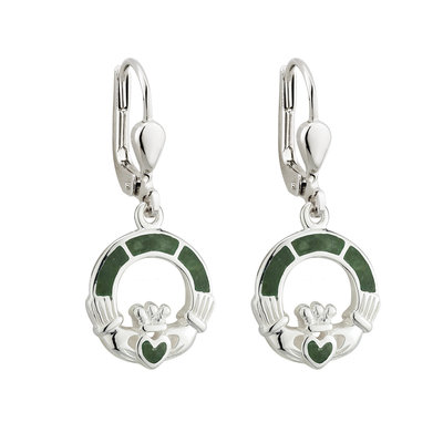 Connemara Marble Claddagh Drop Earrings - S33590