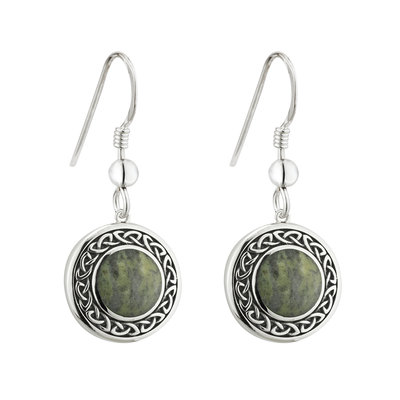 Connemara Marble Round Celtic Drop Earrings - S33772