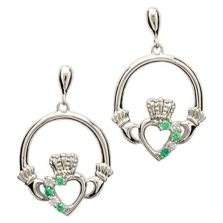Open Heart Claddagh Silver Earrings - SE1053GRCZ