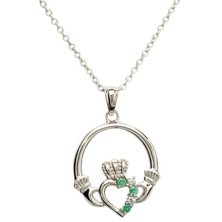 Open Heart Claddagh Silver Pendant - SP1053GRCZ