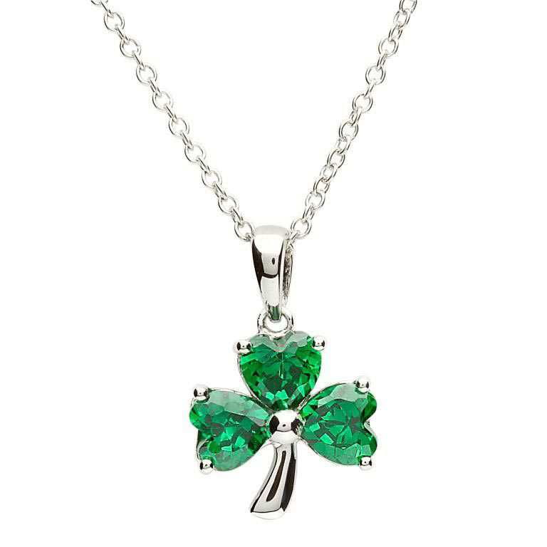 Shamrock Green Stone Set Silver Pendant - SP1095
