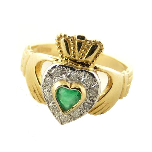 Ladies 10K Gold Green Agate & CZ Claddagh Ring – G230