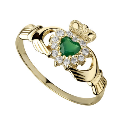 Ladies 10K Gold Green Agate Claddagh Ring -S2523