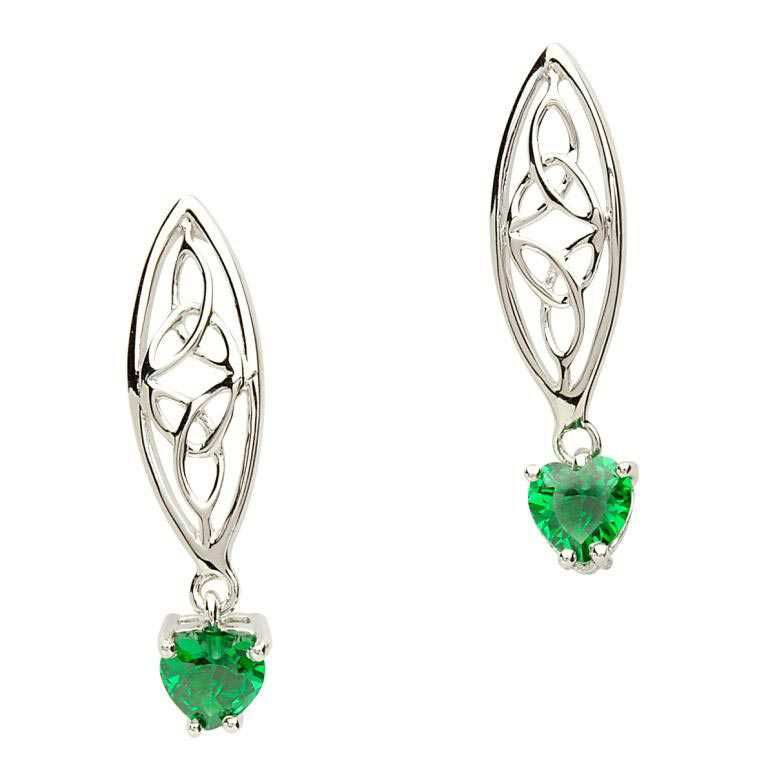 Silver Celtic Stone Set Trinity Earrings - SE2017GR