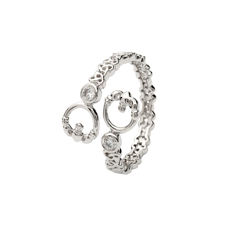 Silver Claddagh Crisscross Ring - SL105