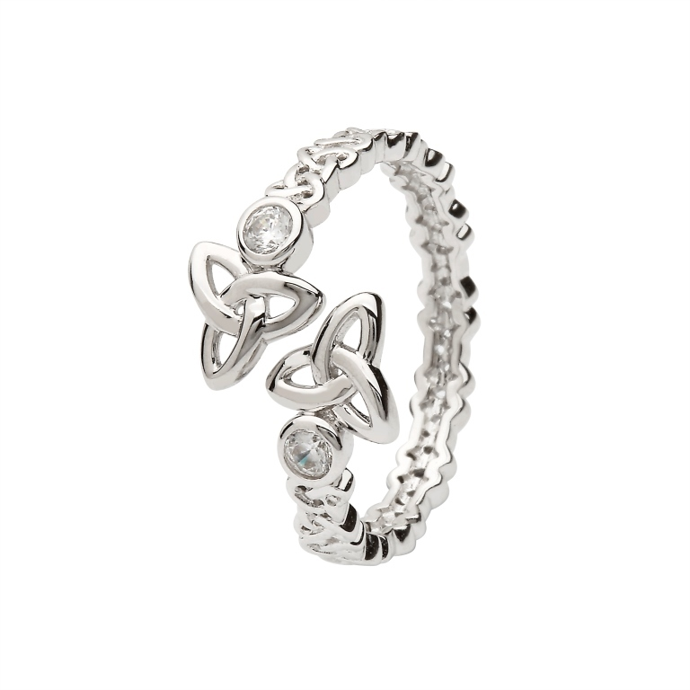 Silver Trinity Crisscross Ring - SL104